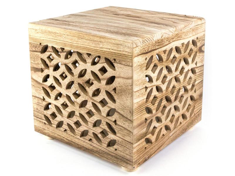Table d'appoint cube en bois coloris brun - dim : dim : 38 x 40 x 40cm - pegane -