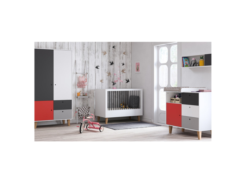 best perfect excellent chambre complte lit bb x commode langer armoire portes vox concept rouge. Black Bedroom Furniture Sets. Home Design Ideas
