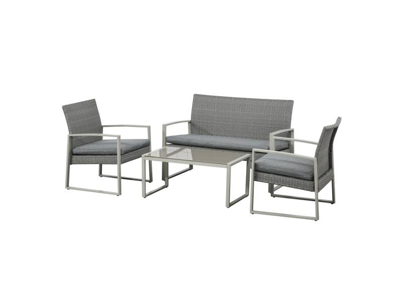 Ensemble salon de jardin 4 places design style yachting coussins inclus table basse métal époxy résine tressée grise