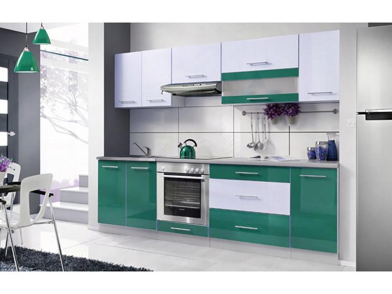 Elm 260 - cuisine complète l 2,6 m - 8 pcs plan de travail inclus - ensemble meubles cuisine linéaire + armoire four encastrable - turquoise/blanc