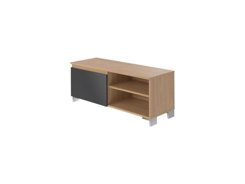 Manhattan meuble tv contemporain laminé chene clair et mélaminé gris anthracite - l 110 cm