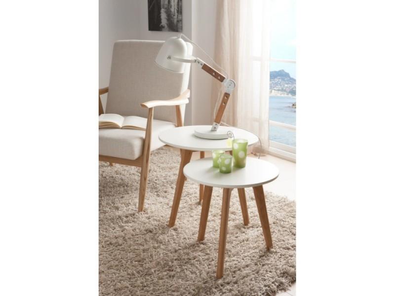 Lot de 2 tables basses rondes en bois laqué blanc semi-mat et chêne gemma - l 50 x h 45