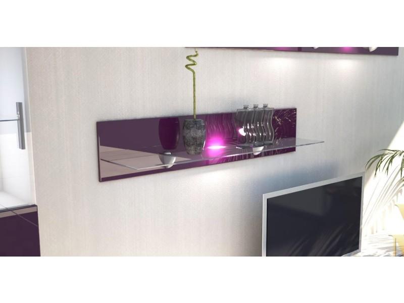 Etagère laquée mûre en bois et verre 98 cm avec led