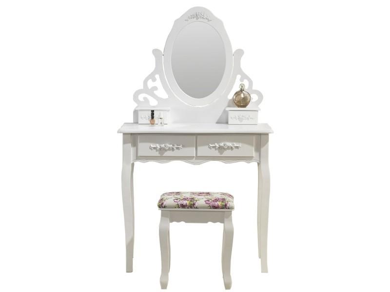 Meuble coiffeuse avec miroir conforama meubles de salle for Meuble coiffeuse fly