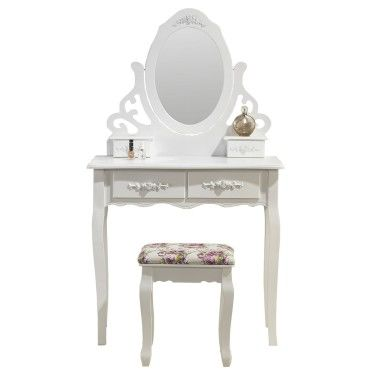 magnifique coiffeuse miroir et si ge table de maquillage blanc vente de paolo collaner conforama. Black Bedroom Furniture Sets. Home Design Ideas
