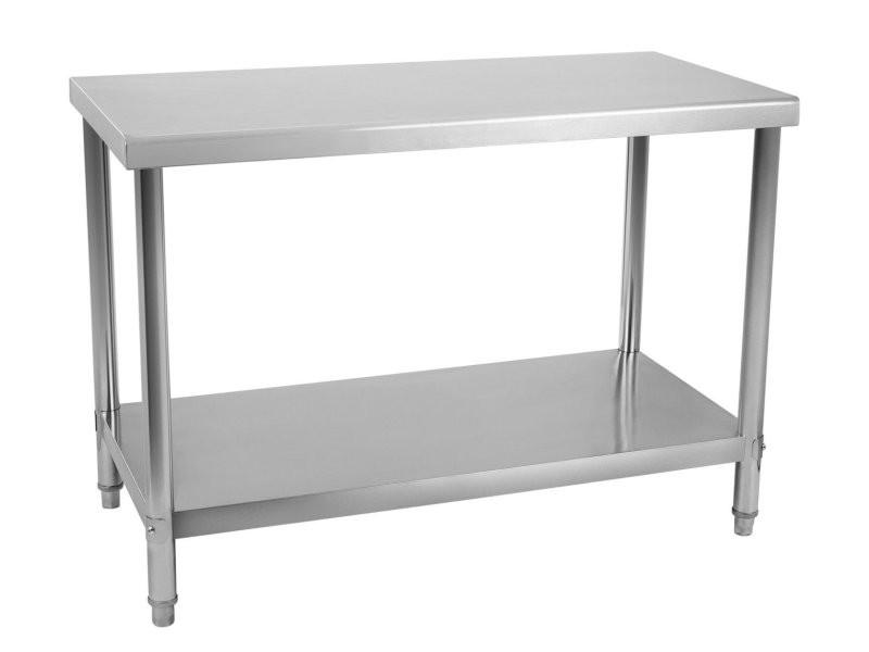 Table de travail professionnelle acier inox pieds ajustable 120 x 70 cm helloshop26 3614083