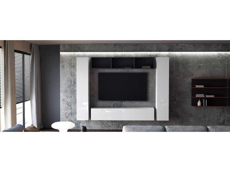 Ensemble de 4 meubles suspendus noir mat / blanc mat + blanc laqué