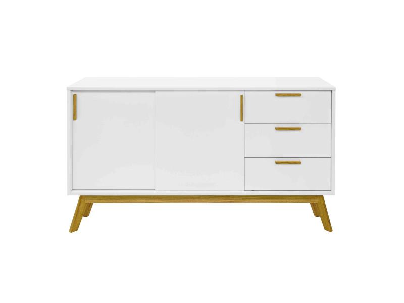 Commode 2 portes 3 tiroirs en bois massif blanc - co0036