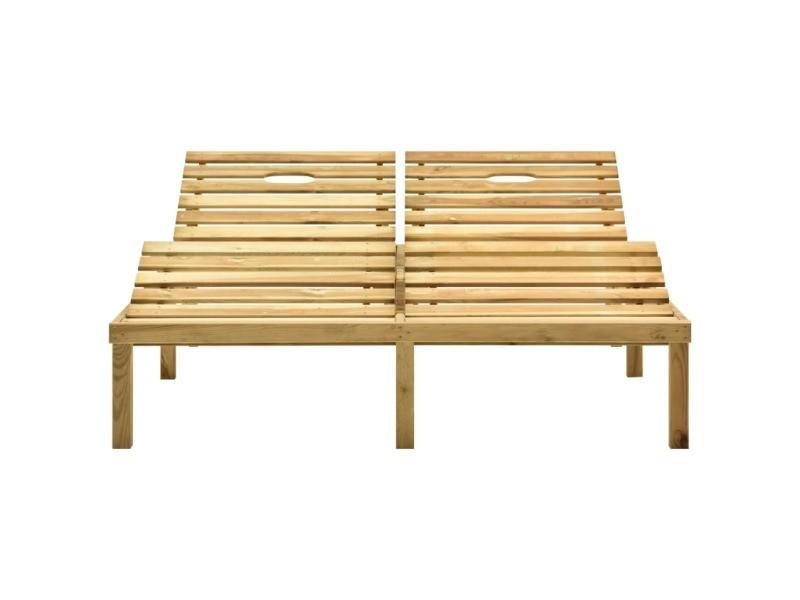 Vidaxl chaise longue double et coussins vert vif bois de pin imprégné