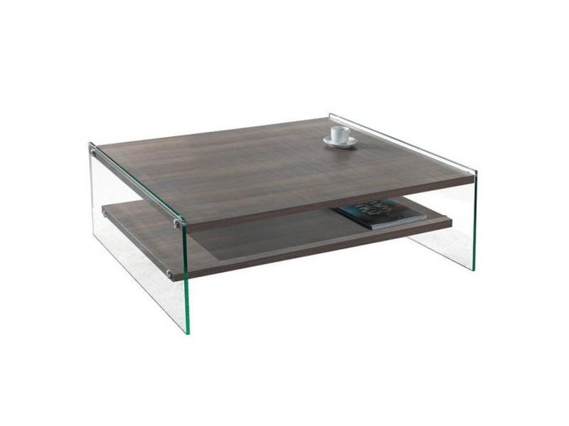Table basse bella 2 plateaux coloris noyer piétement en verre 20100847204