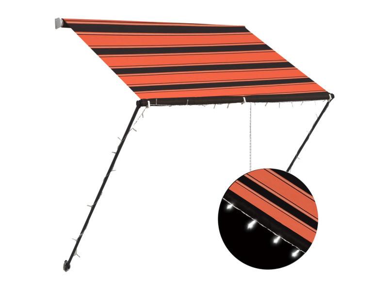 Vidaxl auvent rétractable avec led 150x150 cm orange et marron 145929