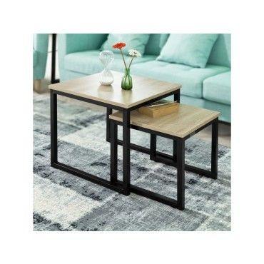 2 pi/èces pour salon balcon Tables basses tables /à th/é gigognes l Table dextr/émit/é de canap/é simple moderne empilable avec bureau effet marbre et cadre en m/étal//A // 70+50cm