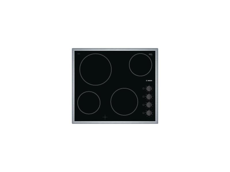 Bosch table de cuisson vitrocéramique 4 foyers quick-light inox manettes