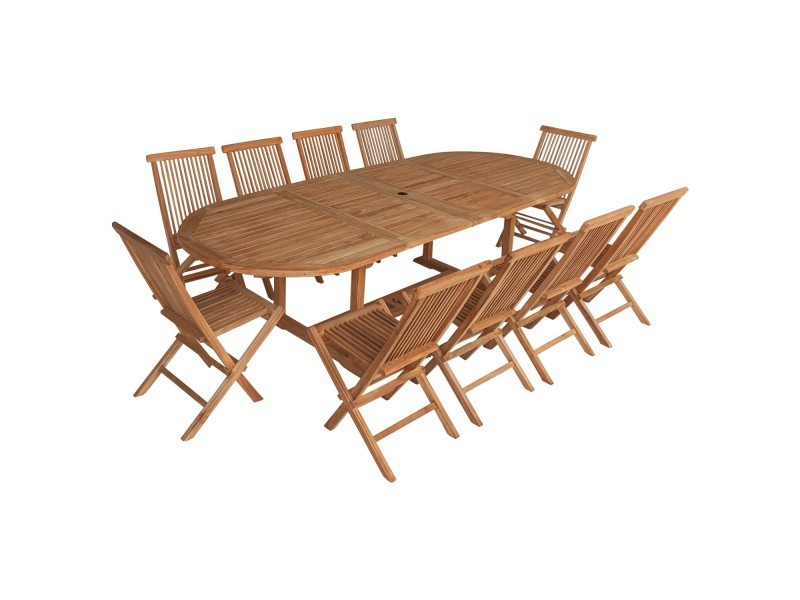 Salon de jardin en teck lombok - table ovale extensible - 10 places