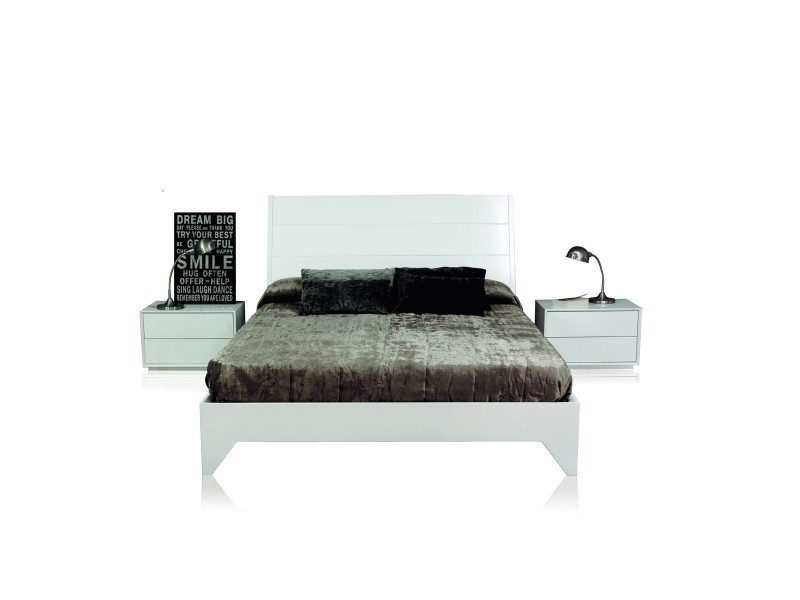 lit complet 2 chevets the one 140 cm blanc laqu io 19268 vente de lit adulte conforama. Black Bedroom Furniture Sets. Home Design Ideas