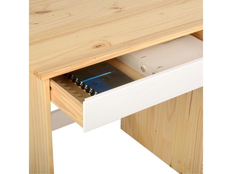 Bureau hugo avec rangement 5 tiroirs style scandinave en - Bureau avec rangement au dessus ...