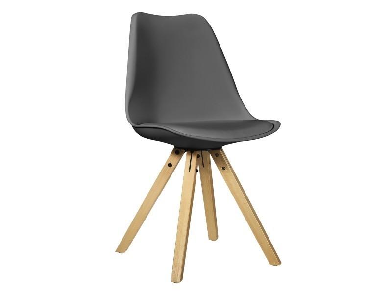 en.casa] 2x chaises de salle a manger gris rembourré salle à