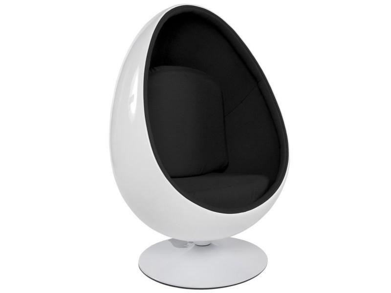 Fauteuil egg blanc & noir