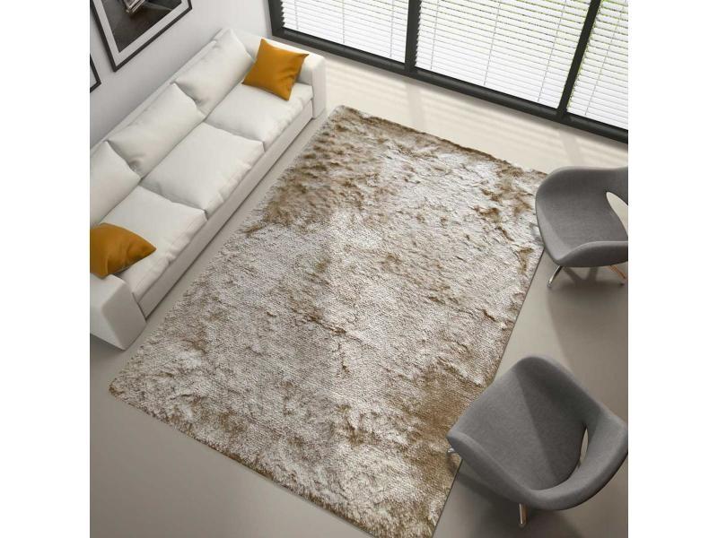 tapis shaggy poils long 160x230 cm rectangulaire sg fin beige salon tufte main adapte au chauffage par le sol