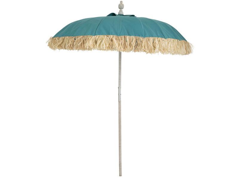 Parasol tissu bleu/bambou naturel - hotot - l 190 x l 190 x h 250 - neuf