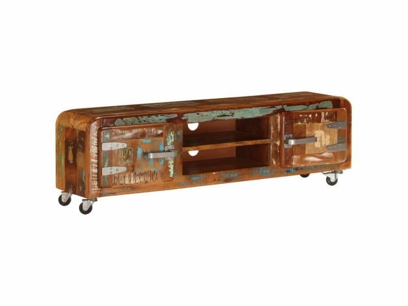 Meuble télé buffet tv télévision design pratique 120 cm bois de récupération massif helloshop26 2502245