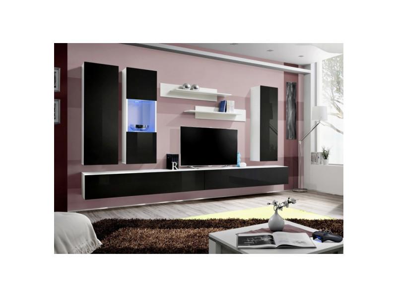 Ensemble meuble tv mural - fly iii - 320 cm x 190 cm x 40 cm - blanc et noir