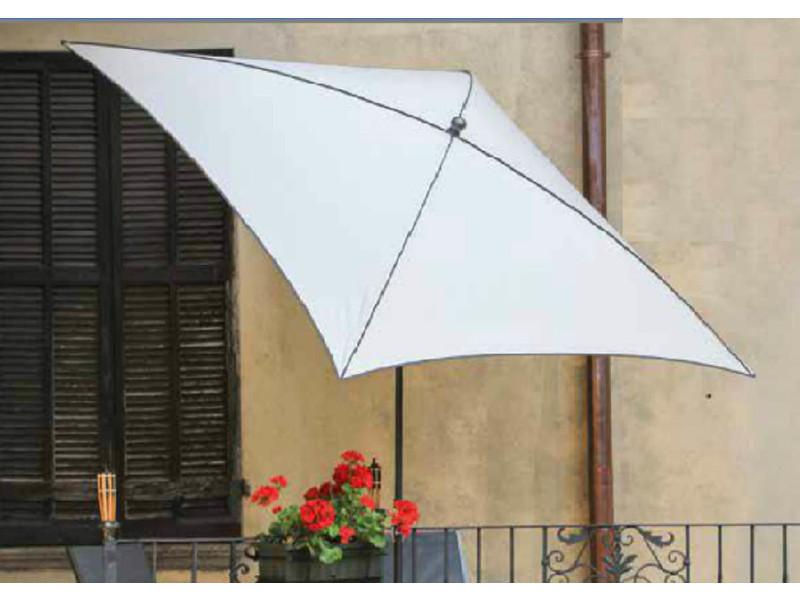 Parasol centré, tissu dralon coloris balnc - dim : 210x130/4 cm - pegane -