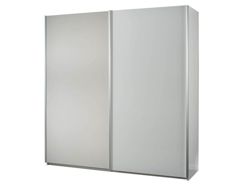 Izia blanche - armoire 2 portes coulissantes avec miroir