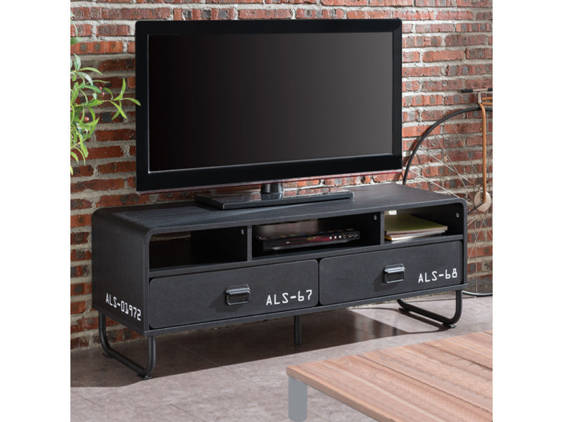 meuble tv meuble salon brock 120 cm noir mat pieds m talliques 3 niches 2 tiroirs. Black Bedroom Furniture Sets. Home Design Ideas