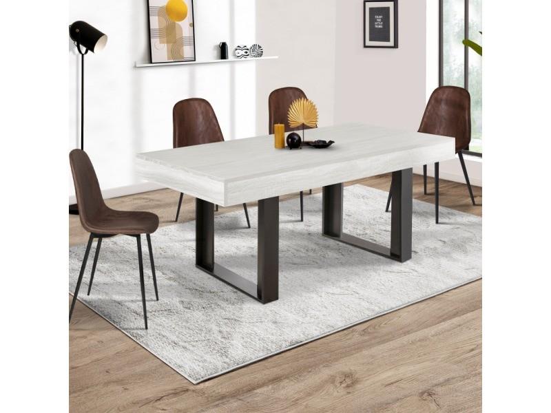 Table à manger phoenix 6 personnes bois gris 160 cm