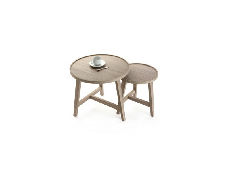Set de 2 tables d'appoints plateau rond chenille