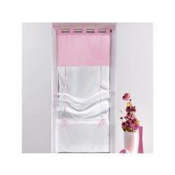 Un store droit à passant - rideau voile bicolore blanc / rose dragee 45 x 180 cm