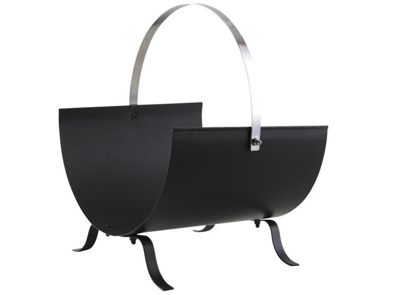 Panier à bûches demi-lune en métal noir avec anse chromée - dim : 38 x 30,5 x 5-23-41 cm -pegane-