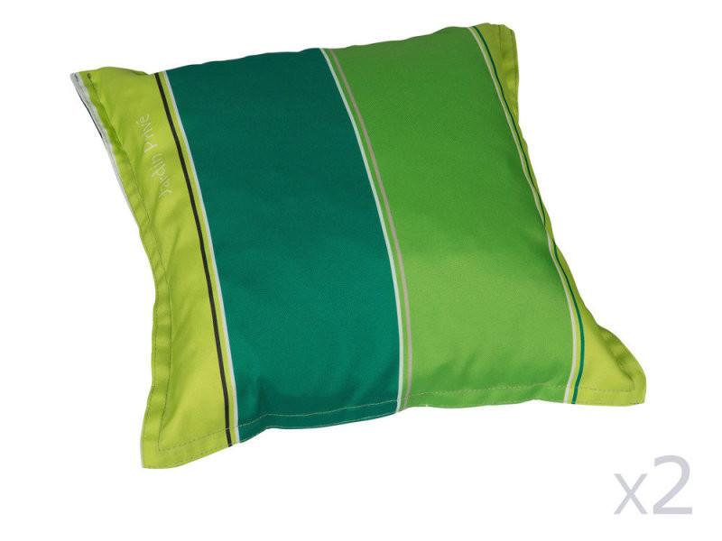 Coussin pour extérieur (x2) déhoussable 40x40cm vert j adore - Vente ...