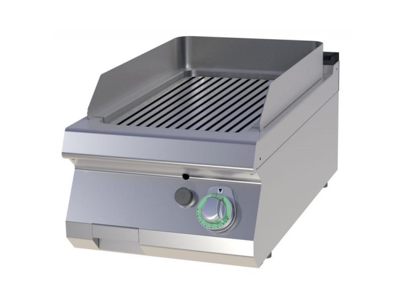 Plancha gaz simple plaque de cuisson rainurée - 7 kw - acier