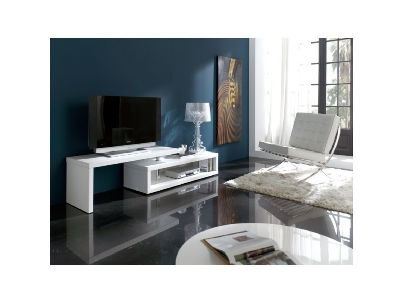 Meuble tv 140 200 cm pivotant en bois laqu blanc brillant for Tv 140 cm conforama