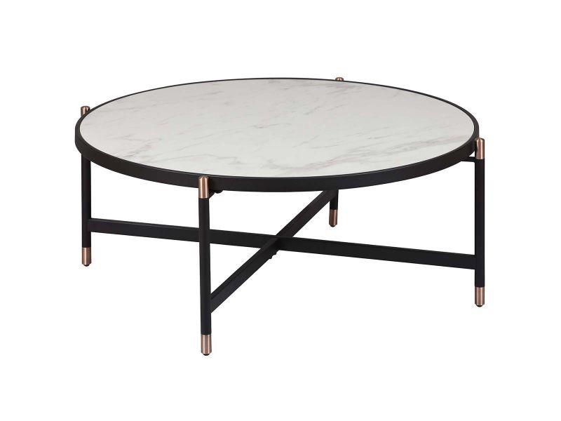 Kobrea - table basse ronde métal & céramique