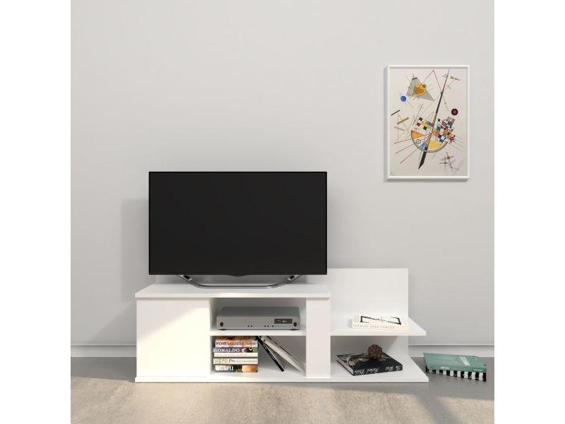 Meuble tv design marshall - l. 120 x h. 42 cm - blanc