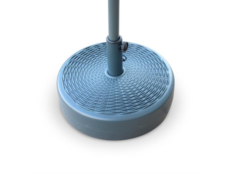 Pied de parasol pedibus rond en plastique, base remplissable pour parasol à mât central, aspect résine tressée, coloris gris