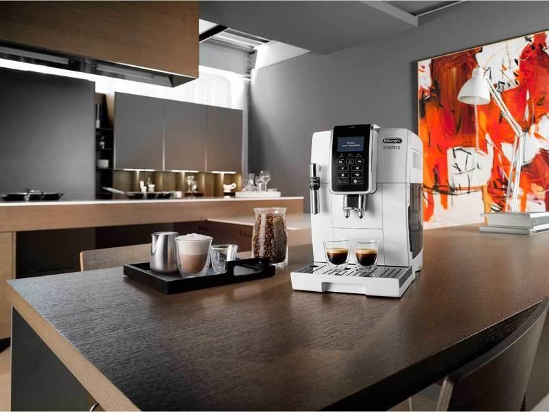 Machine à expresso avec écran lcd et broyeur pour café en grains et moulu 1450w blanc noir