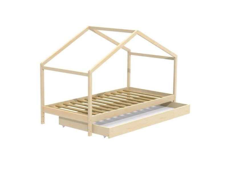 Structure de lit koala lit cabane enfant avec tiroir - bois pin massif - naturel - sommier inlcus - 90x190cm