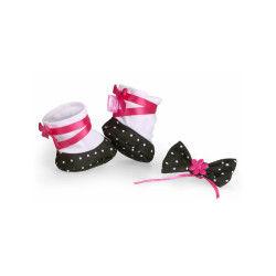Coffret chaussures + bijou pour poupées nenuco 42 cm : ballerines noires et blanches
