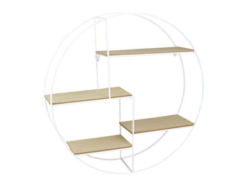 Etagère industrielle ronde en bois et métal 50 cm