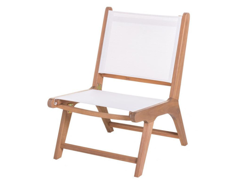 Chaise basse bois d'acacia/textilène blanc - oluveli - l 50 x l 64 x h 75 - neuf
