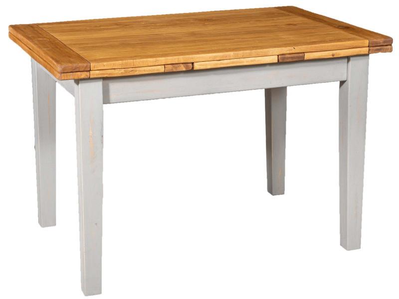 Table de campagne à rallonge en bois de tilleul massif avec structure antique grise et plateau naturel made in italy