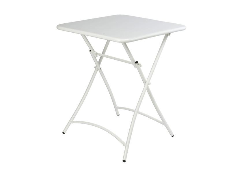 Table de jardin pliante carrée malmö blanc - jardideco - Vente de ...