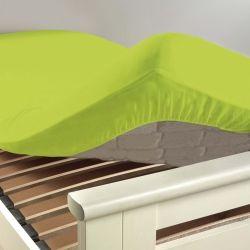 Drap housse coton 57 fils vert pistache 90 x 190 cm