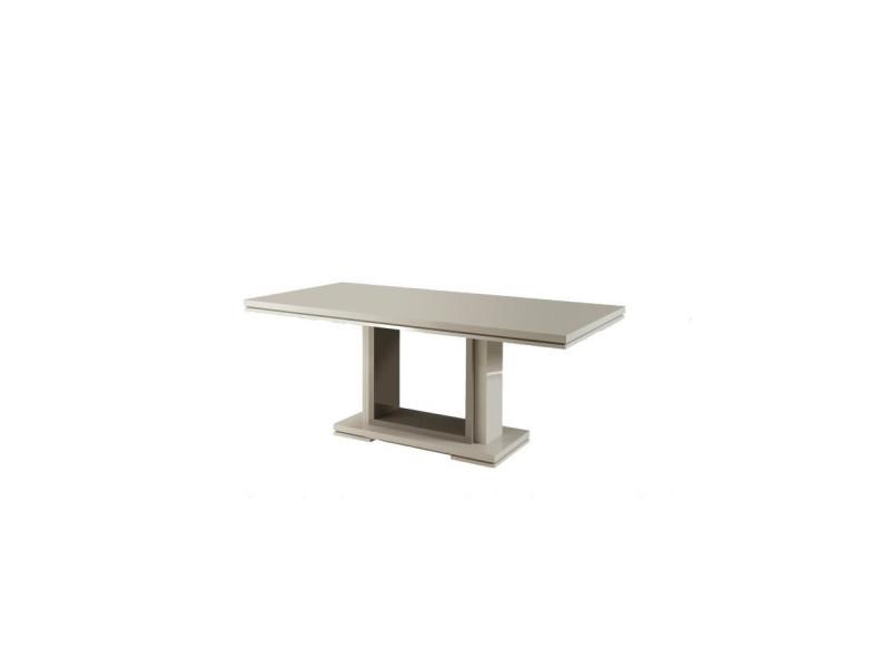 Rimni table a manger extensible taupe et gris laqué - l 160/200 x p 90 x h 90 cm