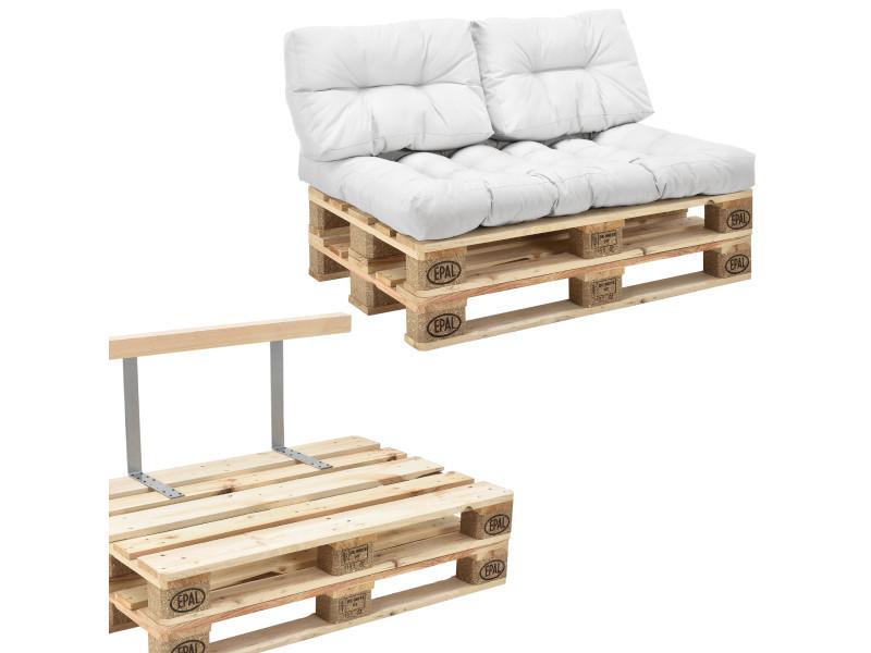 en.casa] canapé de palettes - 2-siège avec coussins - (blanc) kit ...