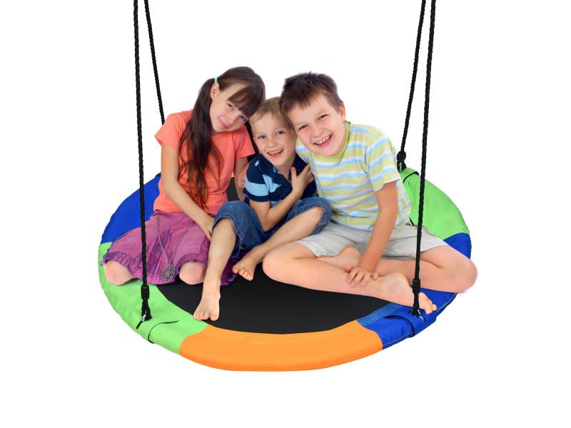 Giantex balançoire nid d'oiseau ronde ø100cm pour enfant hauteur réglable 100-160cm charge 150 kg avec cordes multicouches extérieur (multicolore)
